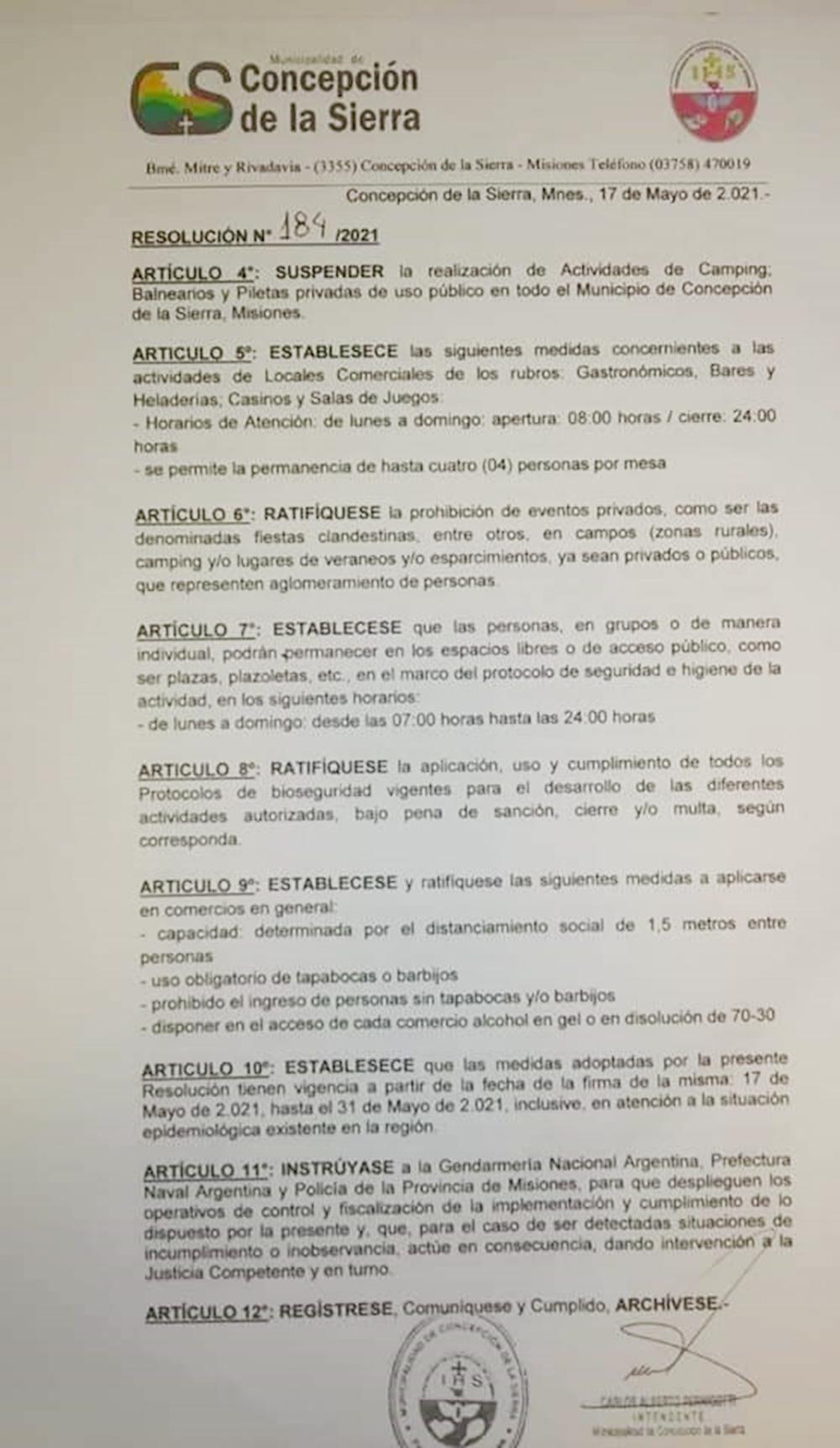 Municipalidad de Concepción de la Sierra, a través de la Resolución Nº 184/2021